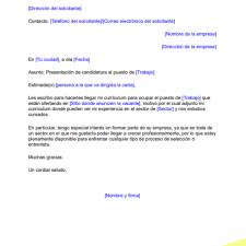 Modelo Carta de presentación Corta